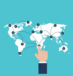global business communication connection network vector image
