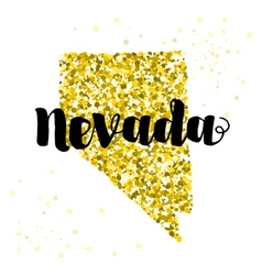 Golden glitter of the state of Nevada vector image