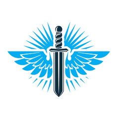 Graphic of sword created with bird wings battle vector