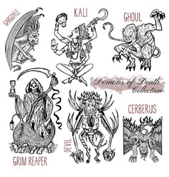 hand drawn set with demons of death vector image