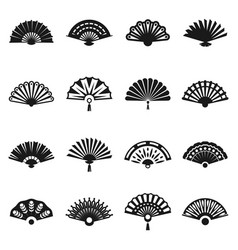 Hand fan set vector