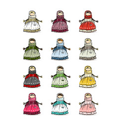 Handmade folk doll mascot collection for your vector
