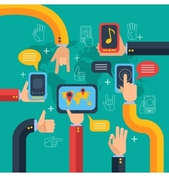 Hands and phones touchscreen concept vector