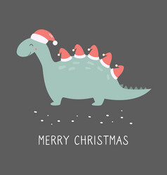 holiday dino with santa hats festive card vector image