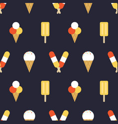ice cream seamless pattern background vector image
