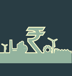 indian rupee symbol and industrial icons vector image