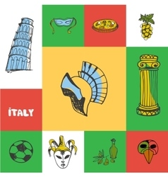 Italy Squared Doodle Concept vector