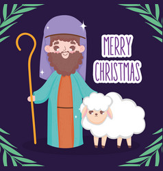 Joseph and sheep manger nativity merry christmas vector