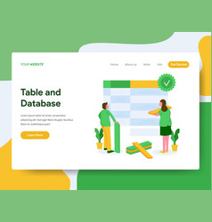 landing page template table and database vector image