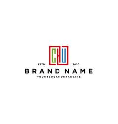 Letter chu square colorful logo design vector