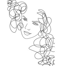 Line art abstract beautiful female face 13 line vector