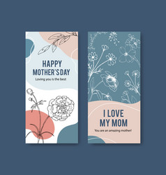 Line flower flyer with design template card vector