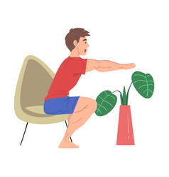 Man doing morning workout at home physical vector