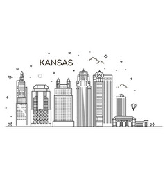 minimal kansas linear city skyline with vector image