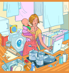 Modern mother with child motherhood a strong vector