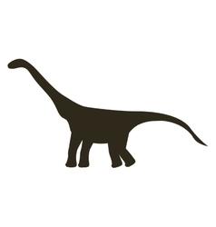 Monochrome silhouette with dinosaur diplodocus vector