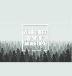 Musterious coniferous wildforest adventure camping vector