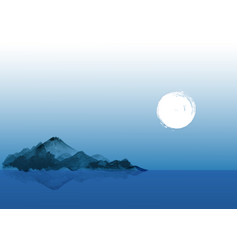 Night landscape with blue mountains in water and vector