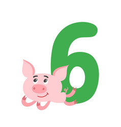 number six with cute cartoon pig isolated on white vector image