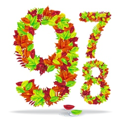 numbers of autumn leaves vector image