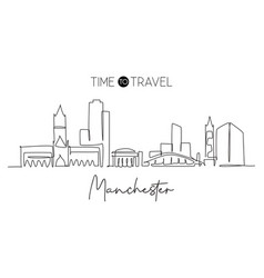 one single line drawing manchester city vector image