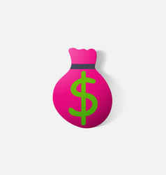 Paper clipped sticker bag money vector