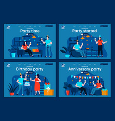 party time flat landing pages set vector image