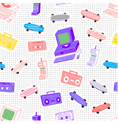 Pattern sets 80s 90s background with dots vector
