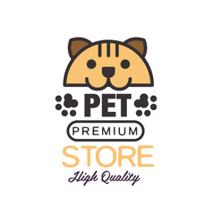 pet store logo template design brown badge vector image