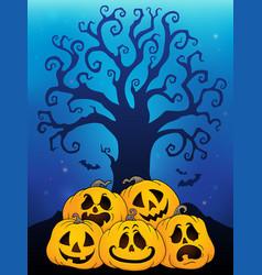 Pile halloween pumpkins theme 6 vector