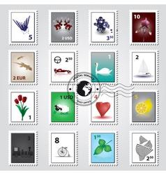 Postage stamps color set eps10 vector