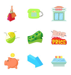 Prosperity icons set cartoon style vector