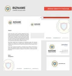 Protected sheild business letterhead envelope and vector