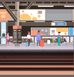 Railway station platform with passengers waiting vector