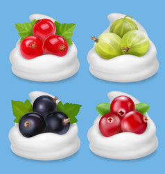 realistic berries set in yogurt vector image