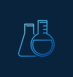 Round-bottom and conical flask line blue vector