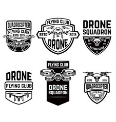 Set drone flying club emblems templates vector