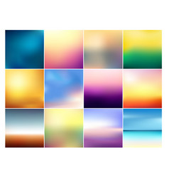 set of 12 square blurred vector image