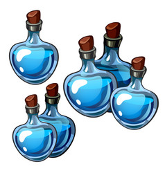 set of beautiful vintage bottles blue glass vector image