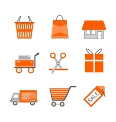 Set of shopping and retail flat icons Shop vector image