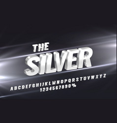 silver font set collection letters vector image