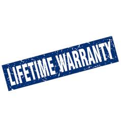 Square grunge blue lifetime warranty stamp vector