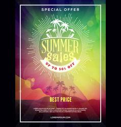 summer sale flyer or poster summer discount label vector image