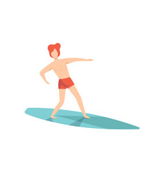 surfer guy in red shorts riding waves young man vector image