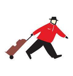tourist with a suitcase vector image