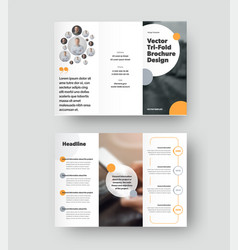 Trifold template with round color design elements vector