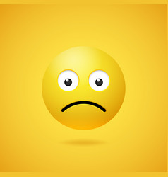 unhappy sad emoticon with opened eyes and mouth vector image