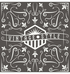 Vintage label with swirls and flowers elements vector