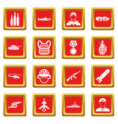 War icons set red vector