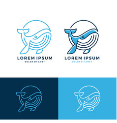 whale logo emblem line art outline download vector image